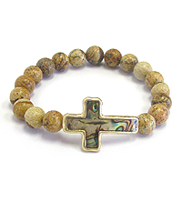 ABALONE CROSS AND GENUINE BALL STRETCH BRACELET
