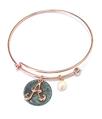 PATINA DISK AND MONOGRAM WIRE BANGLE BRACELET - A