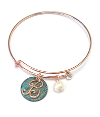 PATINA DISK AND MONOGRAM WIRE BANGLE BRACELET - B