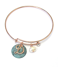 PATINA DISK AND MONOGRAM WIRE BANGLE BRACELET - D