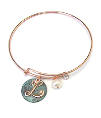 PATINA DISK AND MONOGRAM WIRE BANGLE BRACELET - L