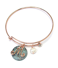 PATINA DISK AND MONOGRAM WIRE BANGLE BRACELET - M