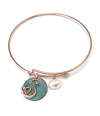PATINA DISK AND MONOGRAM WIRE BANGLE BRACELET - S