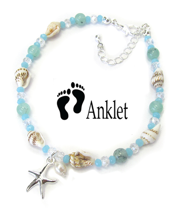 MULTI SEA GLASS AND SHELL MIX ANKLET - STARFISH