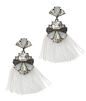GLASS AND THREAD TASSEL VICTORIAN STYLE EARRING