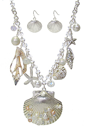 SEALIFE THEME MULTI CHARM DANGLE NECKLACE SET - SHELL