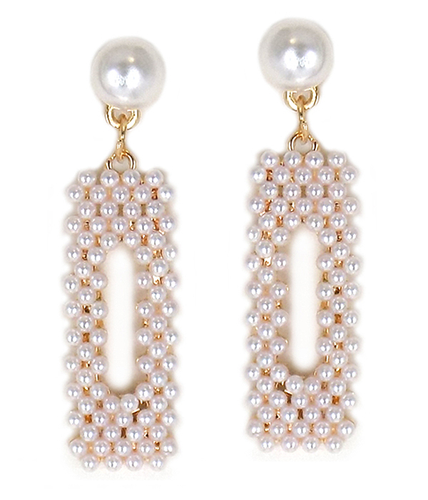MULTI PEARL BEAD SQUARE DROP EARRING