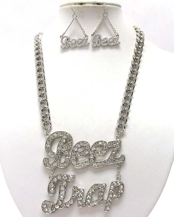 CRYSTAL BEEZ TRAP THEME DROP CHAIN NECKLACE EARRING SET