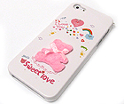 FABRIC BEAR WITH SWEET LOVE THEME CELLPHONE CASE -HARD CASE FOR IPHONE 5