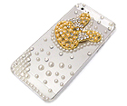 MULTI PEARLS AND METAL CRYSTAL RABBIT HEAD ON CELLPHONE CASE - HARD CASE FOR IPHONE 5