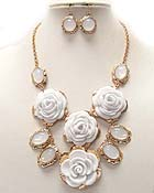 THREE ACRYL ROSE AND MULTI CONETTED ACRYL OVAL STONE DROP CHAIN NECKLACE EARRING SET