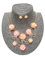 SPRING STATEMENT MULTI FLOWER AND RHINESTONE LAYER LINK NECKLACE SET
