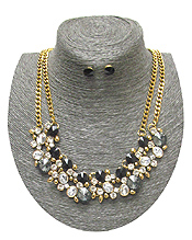 SPRING STATEMENT MULTI CRYSTAL MIX DOUBLE LAYER CHAIN NECKLACE SET