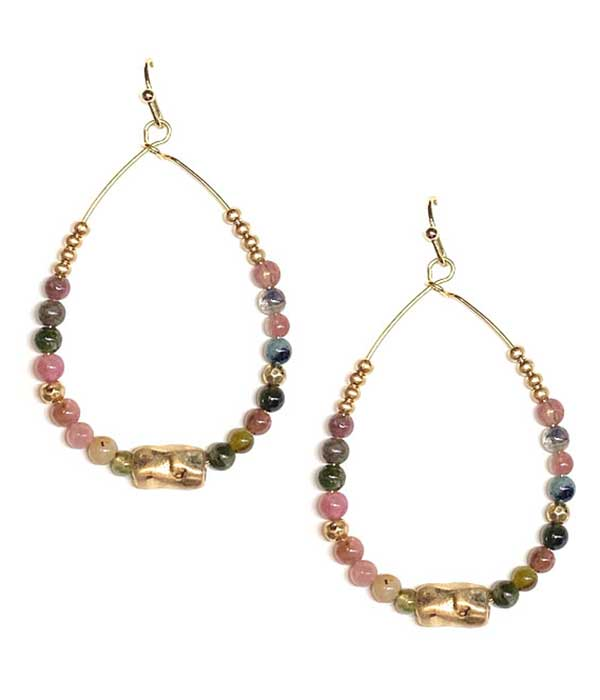 MULTI SEMI PRECIOUS STONE WIRE TEARDROP EARRING