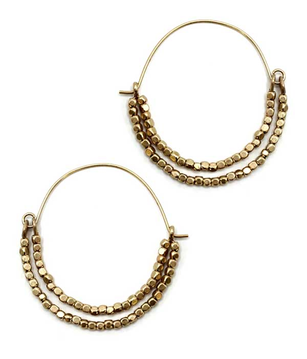 MULTI METAL BEAD DOUBLE WIRE HOOP EARRING