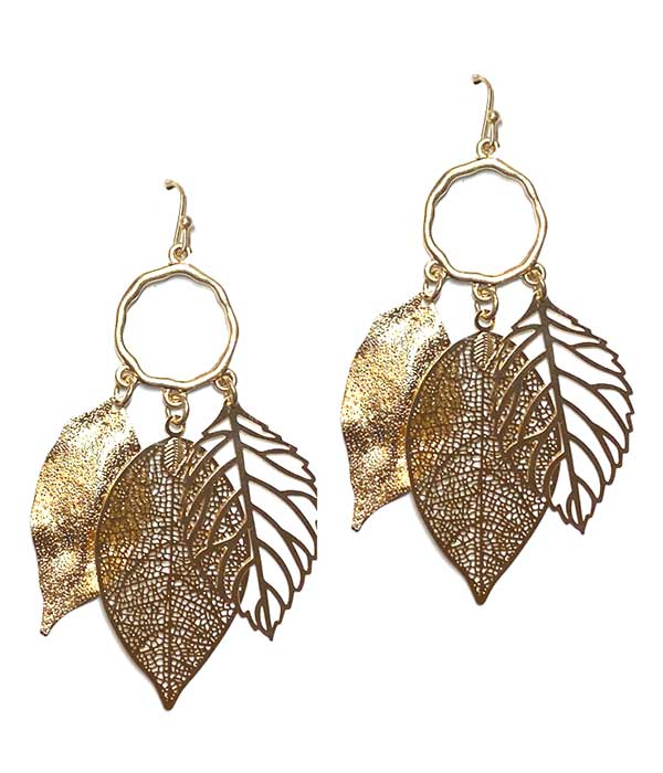MULTI METAL FILIGREE LEAF DROP EARRING