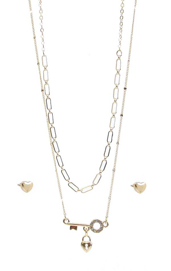 KEY AND LOCK PENDANT DOUBLE LAYER NECKLACE SET