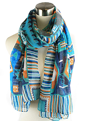 AZTEC PATTERN PRINT INFINITY SCARF - 100% POLYESTER
