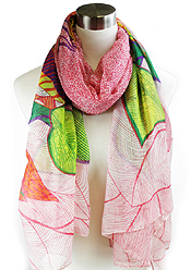 ETHNIC WOOD BLOCK PRINT SCARF - 100% POLYESTER
