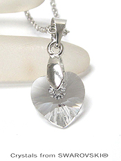 GENUINE SWAROVSKI CRYSTAL SEMPLICE HEART PENDANT NECKLACE - HANDCRAFTED IN THE USA - CRYSTAL