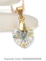 GENUINE SWAROVSKI CRYSTAL SEMPLICE HEART PENDANT NECKLACE - HANDCRAFTED IN THE USA - CRYSTAL AB