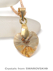 GENUINE SWAROVSKI CRYSTAL SEMPLICE HEART PENDANT NECKLACE - HANDCRAFTED IN THE USA - CRYSTAL GOLDEN SHADOW