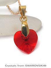 GENUINE SWAROVSKI CRYSTAL SEMPLICE HEART PENDANT NECKLACE - HANDCRAFTED IN THE USA - LIGHT SIAM