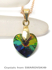 GENUINE SWAROVSKI CRYSTAL SEMPLICE HEART PENDANT NECKLACE - HANDCRAFTED IN THE USA - VITRAIL MEDIUM