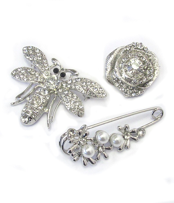 3 PIECE BROOCH SET - ROSE BEE PIN