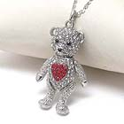 PREMIER ELECTRO PLATING CRYSTAL HEART ON TEDDY BEAR NECKLACE