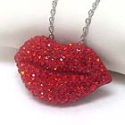 PREMIER ELECTRO PLATING CRYSTAL STUD LIP PENDANT NECKLACE