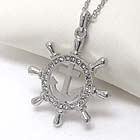PREMIER ELECTRO PLATING CRYSTAL WHEEL AND ANCHOR PENDANT NECKLACE