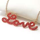PREMIER ELECTRO PLATING CRYSTAL STUD LOVE PENDANT NECKLACE