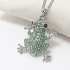 PREMIER ELECTRO PLATING CRYSTAL STUD FROG PENDANT NECKLACE