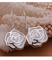 925 STERLING SILVER PLATING ROSE EARRING