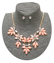 SPRING STATEMENT MULTI FLOWER LINK CHAIN NECKLACE SET