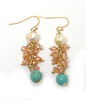 SEMI PRECIOUS STONE AND CRYSTAL BEADS CLUSTER EARRING