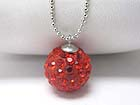 VALENTINE THEME CRYSTAL ROUND BALL NECKLACE - SMALL