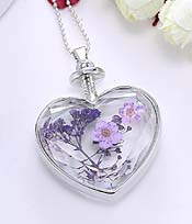 FLOATING DRY FLOWER HEART LOCKET PENDANT NECKLACE