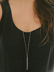 ETSY STYLE SIMPLE LOOP AND BAR LONG NECKLACE