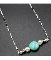 ETSY STYLE TURQUOISE AND PERAL SIMPLE NECKLACE