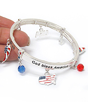 AMERICAN FLAG CHARM STRETCH BRACELET - GOD BLESS AMERICA