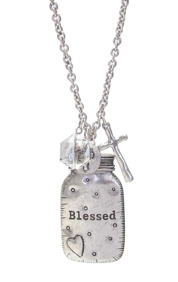 RELIGIOUS INSPIRATION JAR PENDANT LONG NECKLACE - BLESSED