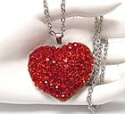 CRYSTAL STUD PUFF HEART NECKLACE