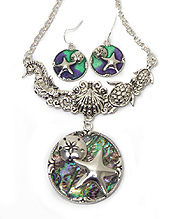 ABALONE STONE SEA LIFE THEME NECKLACE SET - STARFISH