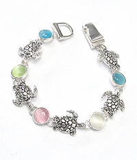 TURTLE AND STONE MIX LINK MAGNETIC BRACELET
