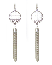 METAL FILIGREE AND FINE CHAIN TASSEL DROP EARRING