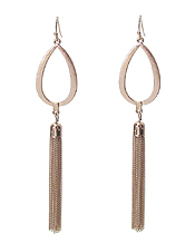 METAL TEARDROP AND FINE CHAIN TASSEL DROP EARRING