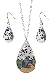 SEALIFE THEME ABALONE PENDANT NECKLACE SET - OCEAN WAVE