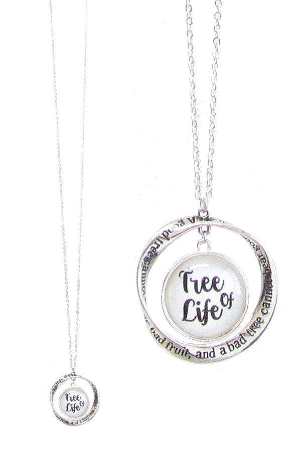 RELIGIOUS INSPIRATION CABOCHON AND TWIST RING PENDANT LONG NECKLACE - TREE OF LIFE